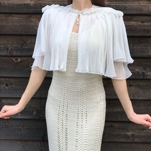 Vintage Sheer Ivory Shrug Capelet with Ruffles
